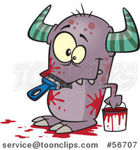 Cartoon Horned Monster Eating a Paintbrush, Covered in Red Splatters by Ron Leishman