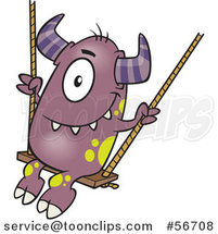 Cartoon Horned Purple Monster on a Swing by Ron Leishman