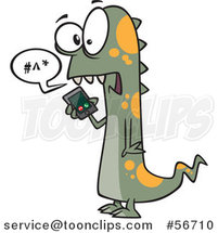 Cartoon Green and Orange Spotted Monster Talking on a Cell Phone by Ron Leishman