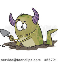 Cartoon Green Horned Monster Digging a Hole by Ron Leishman