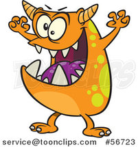 Cartoon Scary Orange Spotted Monster by Ron Leishman