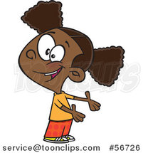 Cartoon Friendly Black Girl Presenting or Expressing Someone Elses Turn by Toonaday