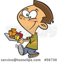 Cartoon Brunette White School Boy Carrying a Cafeteria Lunch Tray by Ron Leishman