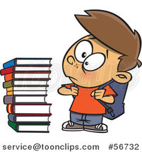 Cartoon Brunette White School Boy Glaring at a Stack of Books by Toonaday