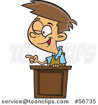 Cartoon Brunette White School Boy Winking and Giving a Lecture at a Podium by Toonaday