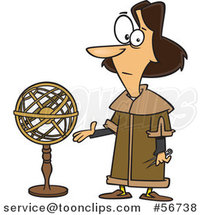 Cartoon Astronomer, Nicolaus Copernicus, Presenting a Model of the Universe by Ron Leishman