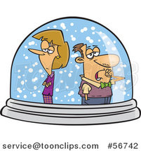 Cartoon Unhappy White Couple Isolated in a Snow Globe by Ron Leishman