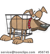 Cartoon Unhappy Dog in a Cramped Crate by Ron Leishman
