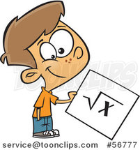 Cartoon Brunette White School Boy Holding a Square Root Page by Toonaday