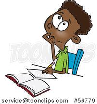 Cartoon Black School Boy Writing and Thinking While Figuring out a Math Problem by Toonaday