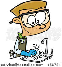 Cartoon Blond White School Boy Cleaning up in a Science Lab by Toonaday