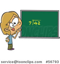Cartoon Dirty Blond White School Girl Pondering over an Equation on a Chalk Board by Toonaday