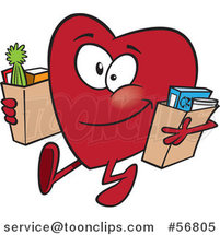 Cartoon Giving Heart Character Carrying Bags of Groceries to Donate by Toonaday