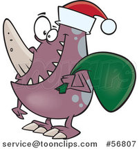 Cartoon Christmas Monster Wearing a Santa Hat and Carrying a Sack by Toonaday