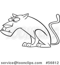 Cartoon Outline Curious Panther Big Cat Sitting by Ron Leishman