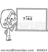Cartoon Outline School Girl Pondering over an Equation on a Chalk Board by Toonaday