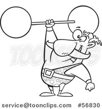 Cartoon Outline Strongman Entertainer Holding a Barbell over His Head by Toonaday