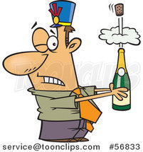 Cartoon White Businessman Holding an Exploding Bottle of Champagne at a New Year Party by Toonaday