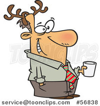 Cartoon Festive White Guy Wearing Antlers and Holding a Drink at a Christmas Party by Toonaday