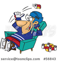 Cartoon White Hockey Player or Fan Sitting in a Chair and Tossing Back Beer Cans by Ron Leishman