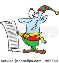 Cartoon Blue Christmas Elf Reading Santas List by Toonaday