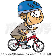 Cartoon White Boy Wearing a Helmet, Grinning and Riding a Bicycle by Toonaday