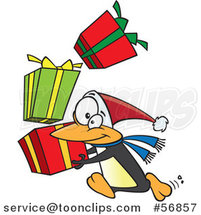 Cartoon Christmas Penguin Running with a Stack of Gifts by Toonaday