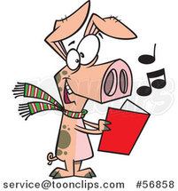 Cartoon Festive Pig Singing Christmas Carols by Ron Leishman