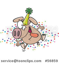 Cartoon Hyper Pig Wearing a Party Hat and Celebrating the New Year by Toonaday