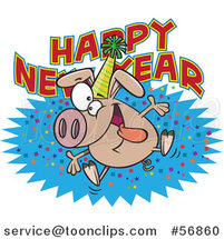 Cartoon Hyper Pig Wearing a Party Hat and Jumping over a New Year Greeting by Toonaday