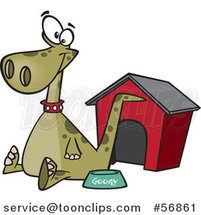 Cartoon Green Pet Dinosaur Sitting by a Food Bowl and House by Ron Leishman