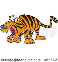 Cartoon Roaring Angry Tiger by Ron Leishman