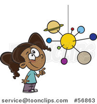 Cartoon Smart Black School Girl Looking up and Pointing at a Solar System Mobile by Toonaday