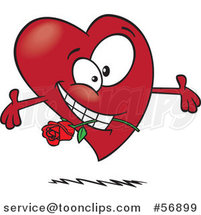 Cartoon Romantic Red Love Heart Character with Open Arms and a Rose in His Mouth by Toonaday