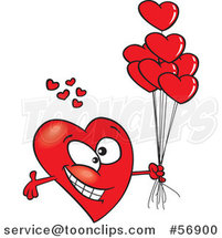 Cartoon Romantic Red Love Heart Character with Open Arms and Balloons by Toonaday