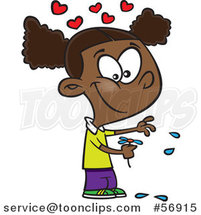 Cartoon Black Girl Playing He Loves Me Loves Me with Flower Petals by Toonaday