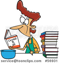 Cartoon Brunette White Lady Learning to Cook with Books by Ron Leishman
