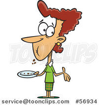 Cartoon Brunette White Lady with a Full Mouth, Shrugging and Holding a Plate After Eating Cake by Ron Leishman