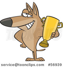 Cartoon Proud Dog Champion Holding a Gold Trophy by Ron Leishman