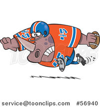 Cartoon Tough Rhino Fooball Player Running by Toonaday