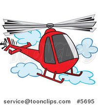 Cartoon Helicopter in the Clouds by Ron Leishman
