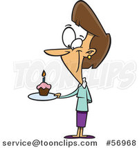 Cartoon Brunette White Lady Holding a Birthda Cupcake on a Plate by Toonaday