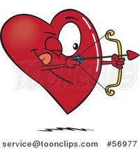Cartoon Heart Character Shooting an Arrow by Toonaday
