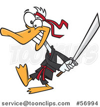 Cartoon Ninja Duck in Black, Swinging a Katana Sword by Toonaday