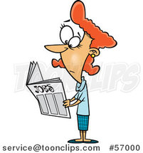 Cartoon Red Haired White Lady Looking for Jobs in the Classifieds by Toonaday