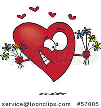 Cartoon Romantic Heart Character Holding Bouquets of Flowers by Toonaday