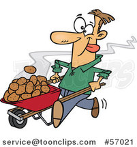Cartoon White Guy Pushing Hot Spuds in a Wheelbarrow by Ron Leishman