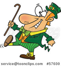 Cartoon St Patricks Day Leprechaun Holding a Cane and Strutting by Toonaday