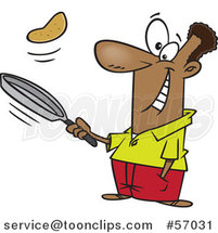 Cartoon Black Guy Flipping Pancakes by Ron Leishman