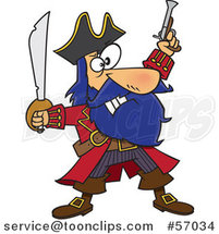Cartoon Pirate Captain, Bluebeard, Holding up a Sword and Pistol by Ron Leishman